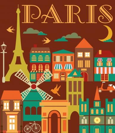 land mark: Paris tarjeta de dise�o, ilustraci�n vectorial
