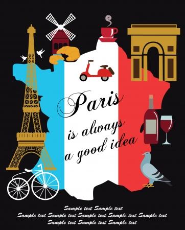 patisserie: Paris card design  vector illustration