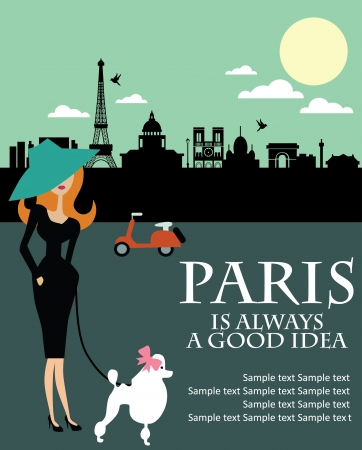 french woman: Paris card design  vector illustration