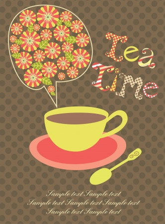 tea time: tea time card  vector illustration Illustration