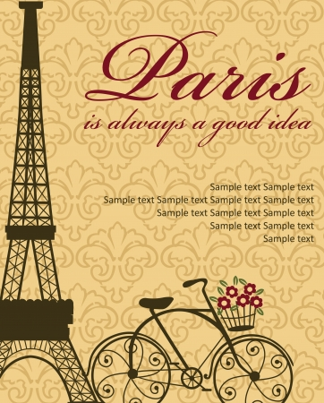 french symbol: Paris card design  vector illustration