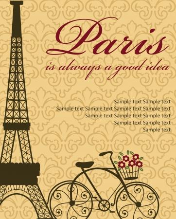 francia: Paris tarjeta de dise?ilustraci?ectorial