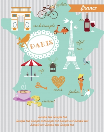 french culture: Paris card design  vector illustration