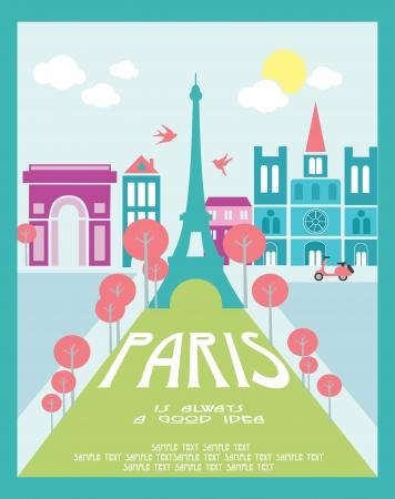 francia: Paris tarjeta de dise�o, ilustraci�n vectorial