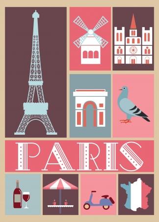 french culture: Paris card design  vector illustration