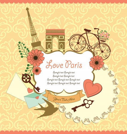 french cafe: Paris card design  vector illustration