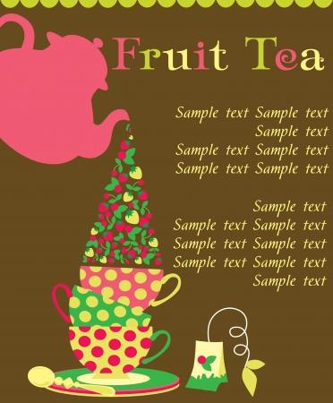 afternoon tea: tea time card  vector illustration Illustration