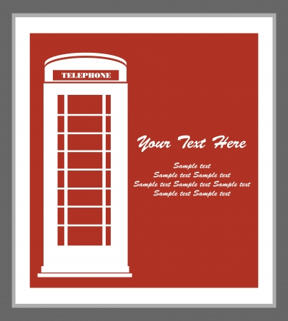 telephone box: phone booth card design  vector illustration