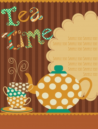 herb tea: tea time card  vector illustration Illustration