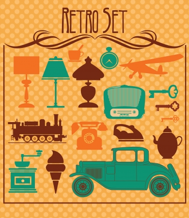 antique car: retro objects collection  vector illustration