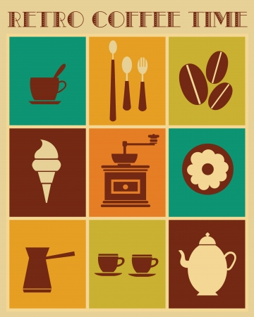retro coffee time objects collection  vector illustration Vector