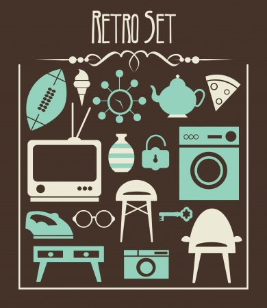 retro objects collection  vector illustration Vector