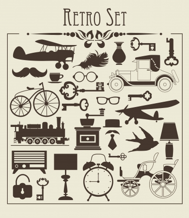 retro lamp: retro objects set  vector illustration