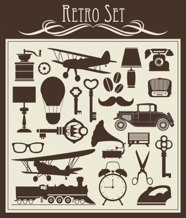 antique scissors: oggetti retro set illustrazione vettoriale Vettoriali