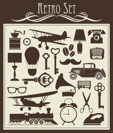 vintage telephone: retro objects set  vector illustration