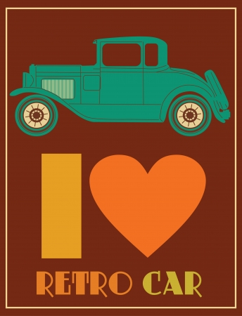 love retro cars card design  vector illustration Vector
