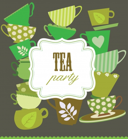 tea party card  vector illustration Illustration