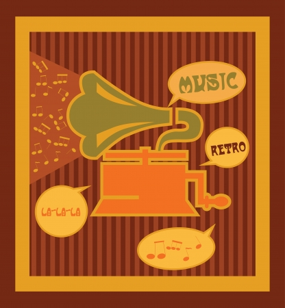 phonograph: retro music time card design  vector illustration Illustration