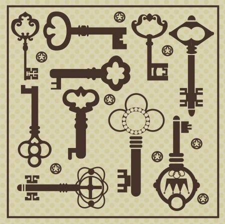 Klucze: rocznika kolekcji ilustracji wektorowych kluczy