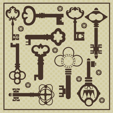 house keys: vintage keys collection  vector illustration