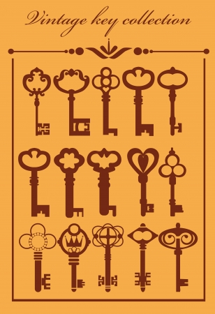 lock and key: vintage keys collection  vector illustration
