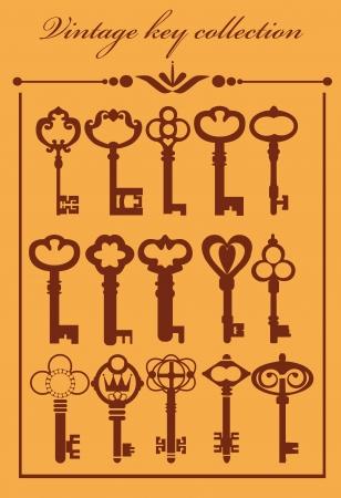 old keys: vintage keys collection  vector illustration