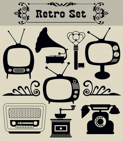 vintage telefoon: retro objecten set vector illustratie