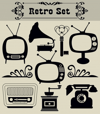 vintage radio: retro objects set  vector illustration