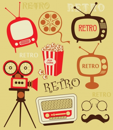retro telephone: retro objects set  vector illustration