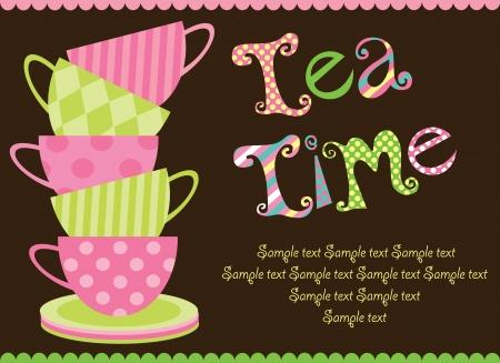 tea party card  vector illustration Vector