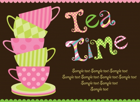serviette: tea party card  vector illustration Illustration