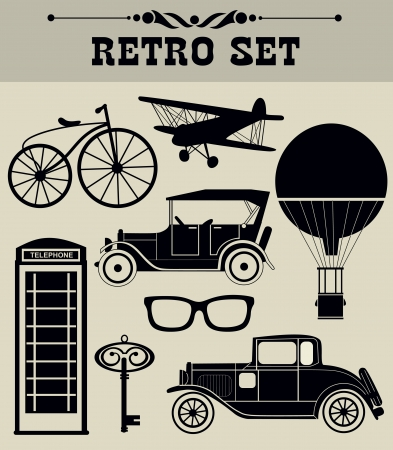 antique booth: vintage objects collection  vector illustration Illustration