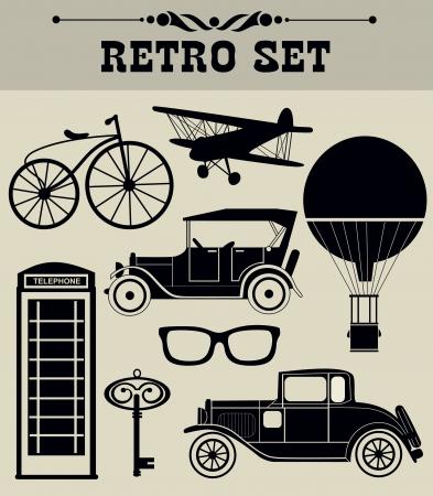 stílus: vintage tárgyak gyűjtése vektoros illusztráció