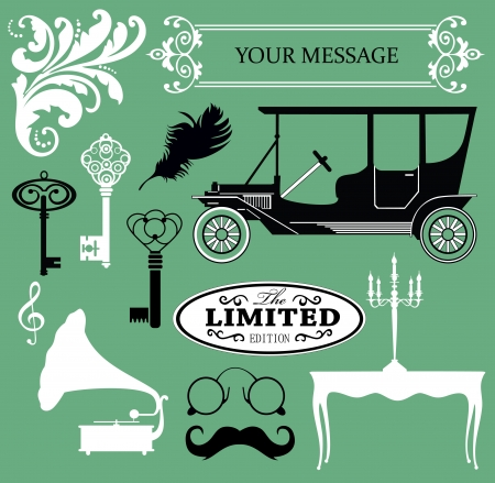 vintage objects collection  vector illustration Stock Vector - 19252260