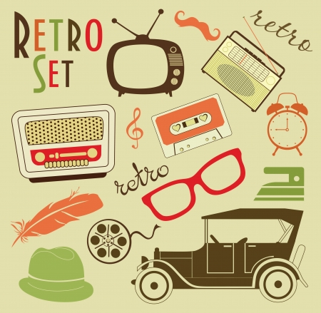 vintage objects collection  vector illustration Stock Vector - 19252282