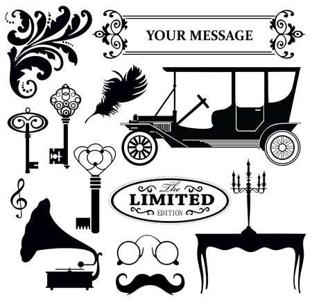 vintage objects collection  vector illustration Illustration