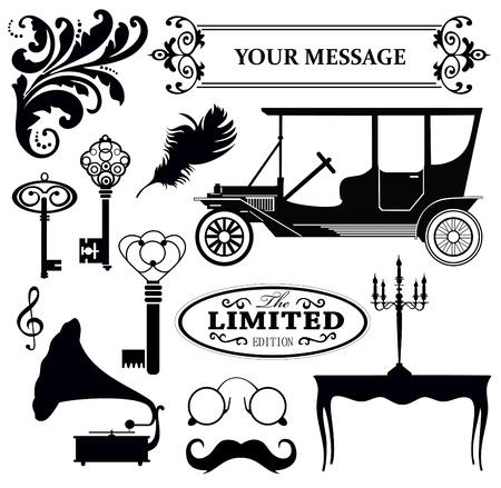 antique car: vintage objects collection  vector illustration Illustration