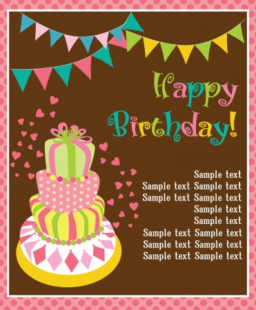 happy birthday cake card design  vector illustration Vector
