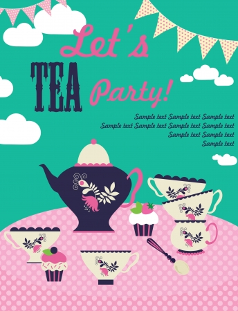 afternoon tea: tea party card  vector illustration Illustration