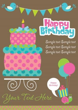 pastel feliz cumplea�os: feliz cumplea?pastel de dise?e tarjeta de ilustraci?ectorial