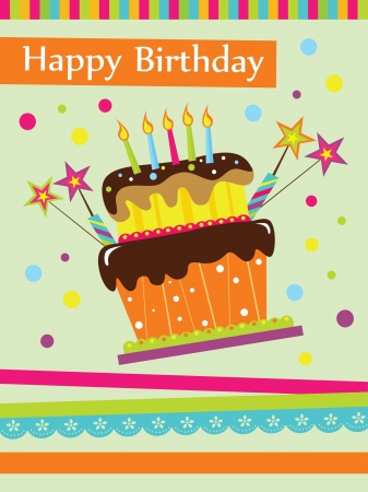 postcard background: happy birthday cake card design  vector illustration
