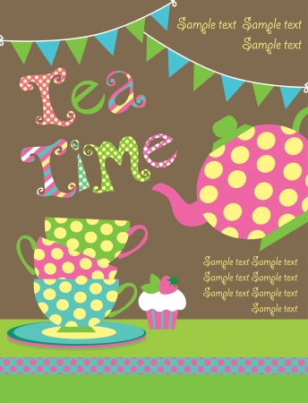 tea party card  vector illustration Vector