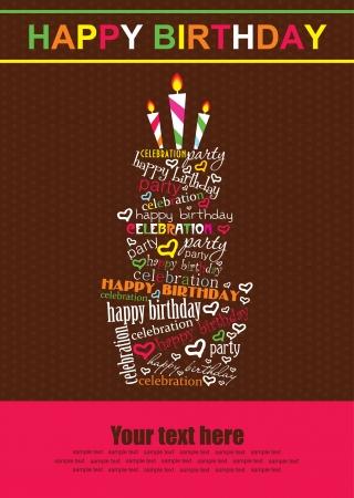 happy birthday party: feliz cumplea?os pastel de dise?o de tarjeta de ilustraci?n vectorial Vectores
