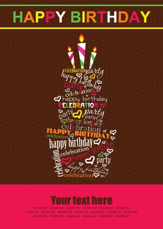 birthday party kids: happy birthday cake card design  vector illustration