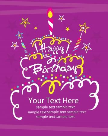 pastel feliz cumplea�os: feliz cumplea�os pastel de dise�o de tarjeta de ilustraci�n vectorial Vectores