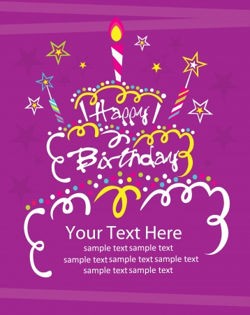 small cake: happy birthday cake card design  vector illustration
