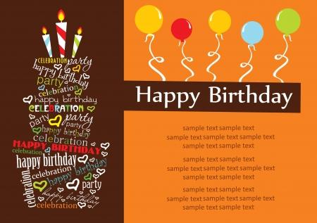 gelukkige verjaardag taart kaart ontwerp vector illustratie