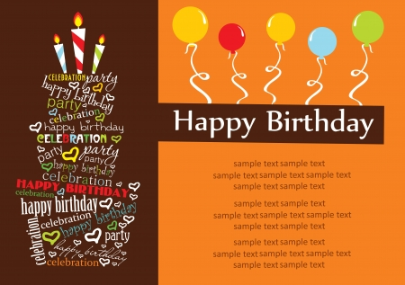 birthday party: happy birthday cake card design  vector illustration