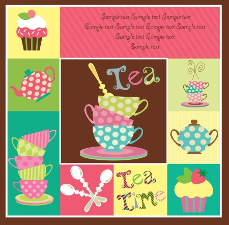 serviette: tea party card design  vector illustration