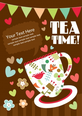 birthday tea: tea party card design  vector illustration